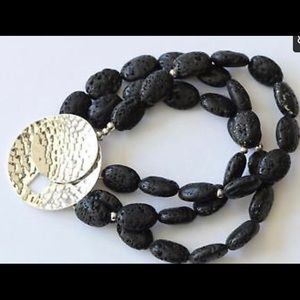 B1511 Retired Silpada Black Lava Bead Bracelet